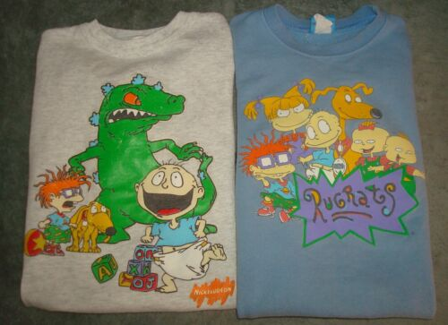 VTG 96 & 99 RUGRATS YOUTH SWEATSHIRTS MEDIUM LARGE 90s CREW NECK NICKELODEON USA