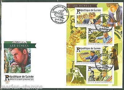 GUINEA  2015 CHESS  SHEET  FIRST DAY COVER