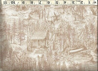 Quilting Treasures ~ Cabin Bear Moose Rustic Tan ~ 100% Cotton Quilt Fabric BTY