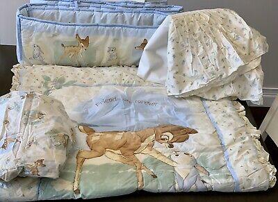 Vintage 4pc Disney Baby Bambi Crib Bedding Set Ruffled Quilt Sheet Bumper Skirt