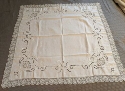 Antique Mixed Lace Embroidered Tablecloth, Napkins, Linen, Needle Lace