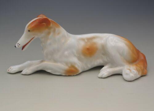 ART DECO GERMAN PORCELAIN BORZOI DOG FIGURINE ANTIQUE  MARKED