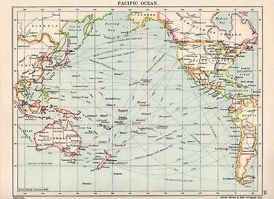 Map Of Pacific Ocean Nautical Seaports Circa 1920 James Brown & Sons Glasgow