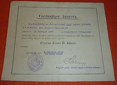 "Urkunde ""Im Felde"" Eisernes Kreuz II. Klasse Ancre D�sseldorf Autograph Major"