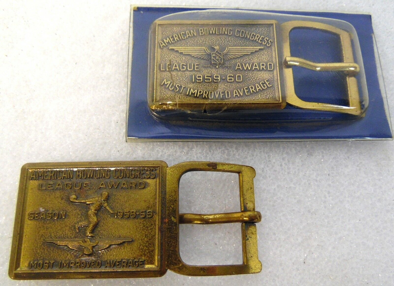 Antique Pair 1958 59 60 American Bowling Congress Abc Most Improved Belt Buckles