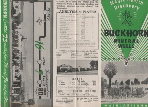 Buckhorn Mineral Wells Brochure, Mesa Arizona Magic Health Discovery 1940