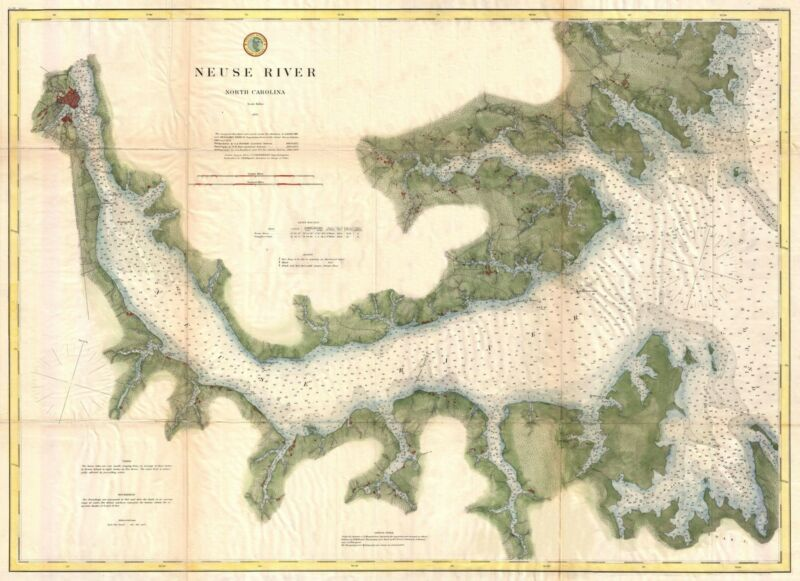 1874 Coastal Survey Map of the Neuse River North Carolina