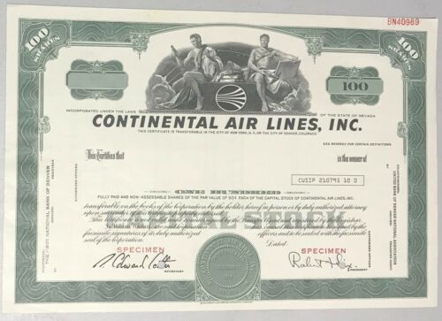 1970s CONTINENTAL AIR LINES, INC. Stock Certificate 100 shares Green SPECIMEN