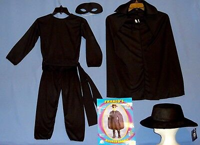 Zorro Costume Kids (ZORRO COSTUME CHILD 8-10;12-14;MASKED BANDIT;SPANISH;SHIRT;PANTS;CAPE;HAT;LOT-6)