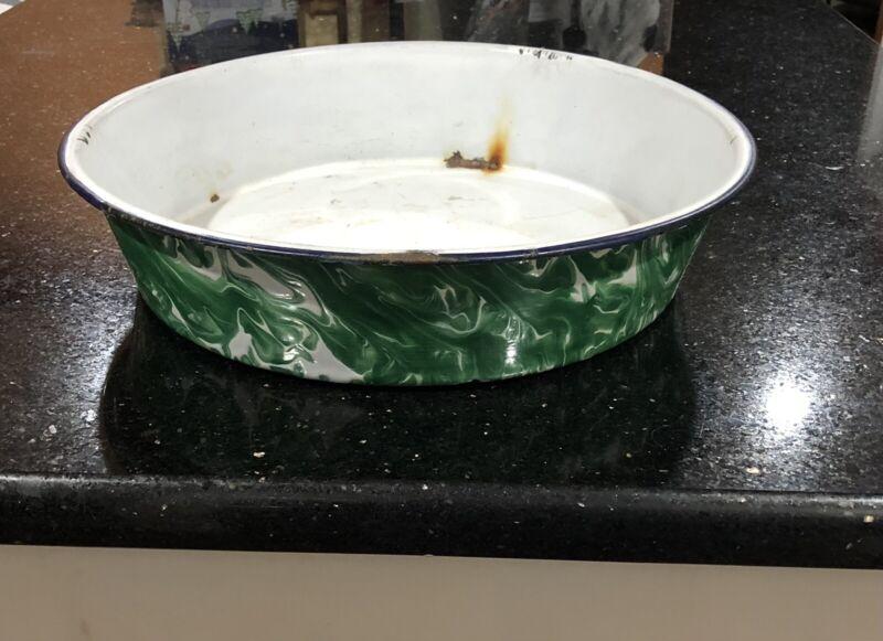 Large Antique Emerald Green White Swirl Graniteware Enamel Basin Pan