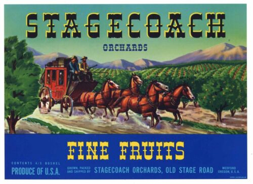 STAGECOACH Vintage Pear Crate Label, Western, Cowboy, *AN ORIGINAL LABEL* Blue