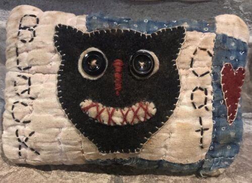 Primitive Crazy Black Cat Shelf Pillow-Made From Vintage Quilt - $10.95