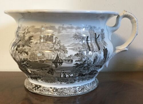 Antique Chamber Pot Brown Transfer Historical Transferware Planter Cachepot 19th
