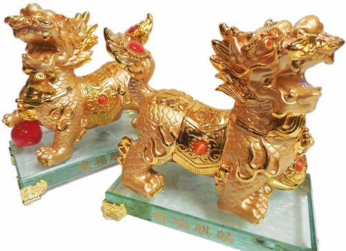 Pair of Golden Lucky Foo dogs on Crystal Base