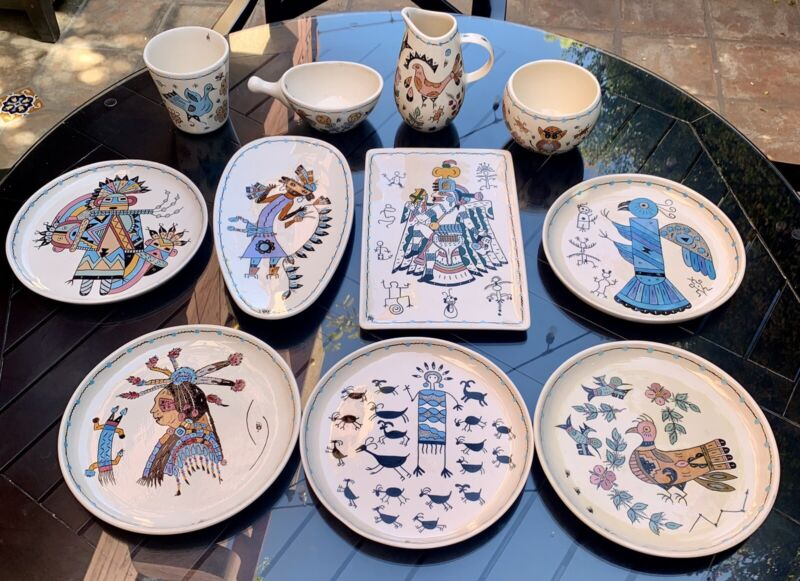 1980 Genevieve Golsh Rincon Reservation. Hand painted Authentic Dinner Set.