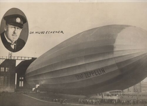 Large 1930s 15 x 10 inch Photo of the Graf Zeppelin Dirigible with Dr Eckener