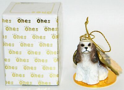 "Cocker Spaniel Dog White Brown Figurine Ornament Angel 2"" Mini Figure Tiny Ones"