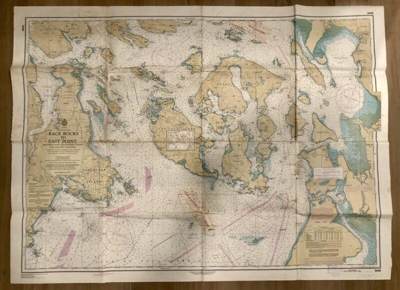 Set Of 4 Vintage DISCOVERY ISLANDS Nautical Chart BRITISH COLUMBIA Canada MAP