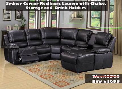 TAKE HOME TODAY FROM $24/PW - Fabric/Air Leather Recliner Lounge