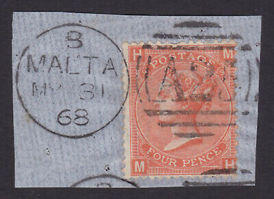 GB. QV. SG 95, 4d deep vermillion on piece. Used abroad, Malta.