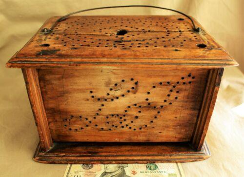 18th c. American Pierced Tulipwood New Jersey Footwarmer c. 1790