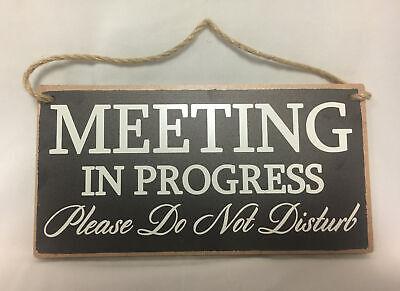 Meeting In Progress Please Do Not Disturb Sign Wooden Hanger 10x5