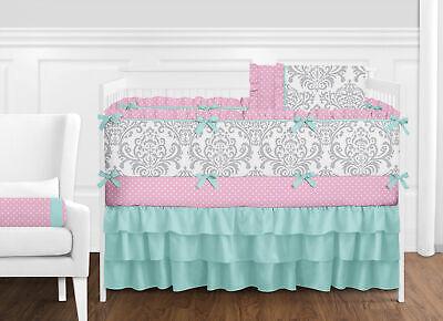 (Luxury Turquoise Blue Pink and Gray Damask Polka Dot Baby Girls Crib Bedding Set)