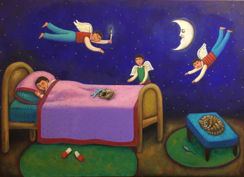 Beautiful magical realism painting sleeping boy & angels mexican Esau Andrade