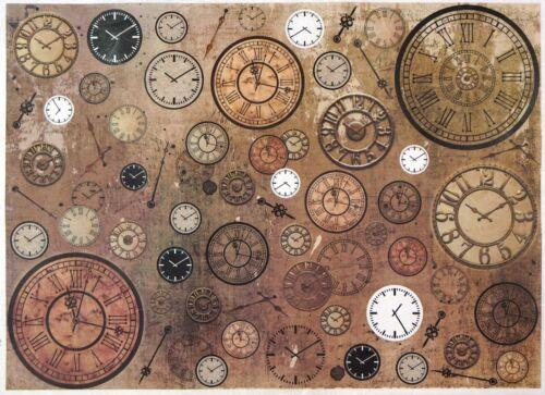Rice Paper for Decoupage Decopatch Scrapbook Craft Sheet A/3 Vintage Clocks