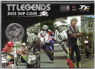 2015 Isle of Man 50 p Fifty Pence TT LEGENDS BUNC  GIFTCARD