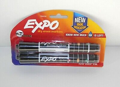 Expo Dry Erase Markers With Ink Indicator Chisel Tip Black X12 Markers New Packs