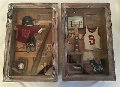 (2 OLD TIME BASKETBALL BASEBALL SPORTS Shadow Box Hanging Wall Art Picture Rustic)
