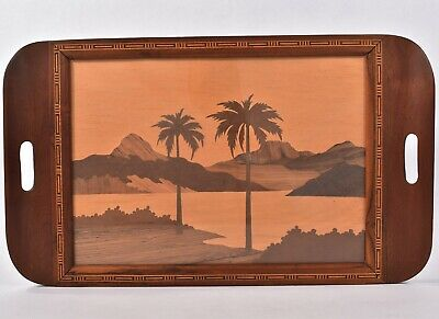 Hawaiian TIKI BAR Serving DRINK TRAY Beach Palms Mountains WOOD MARQUETRY