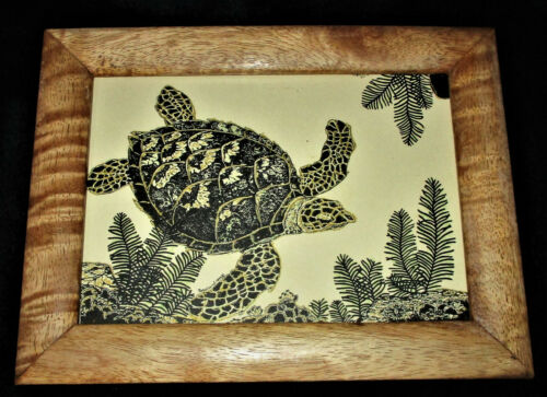 1999 SIGNED ART PRINT TURTLE BY ROSALAND  Hand-Applied Gold Accents Framed