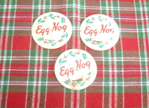 Vintage EGG NOG Milk Bottle Cardboard Cap Lid ~ Set of 3 ~