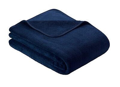 Midnight blue Ibena S.OLIVER Plain Wellsoft Cosy Throw / Blanket 150cm x 200cm