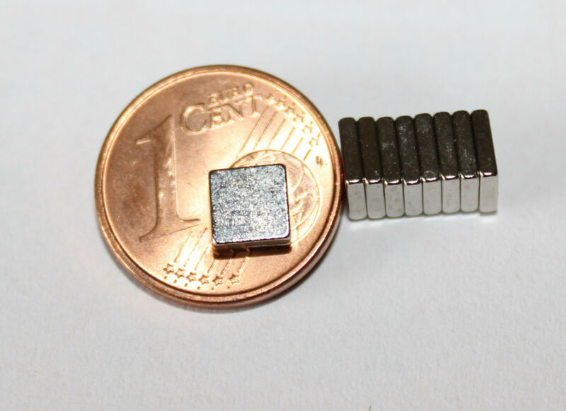 20 Stück Neodym Quadrat  Magnete  5 x 5 x 1,2 mm  Powermagnet für Reedkontakte