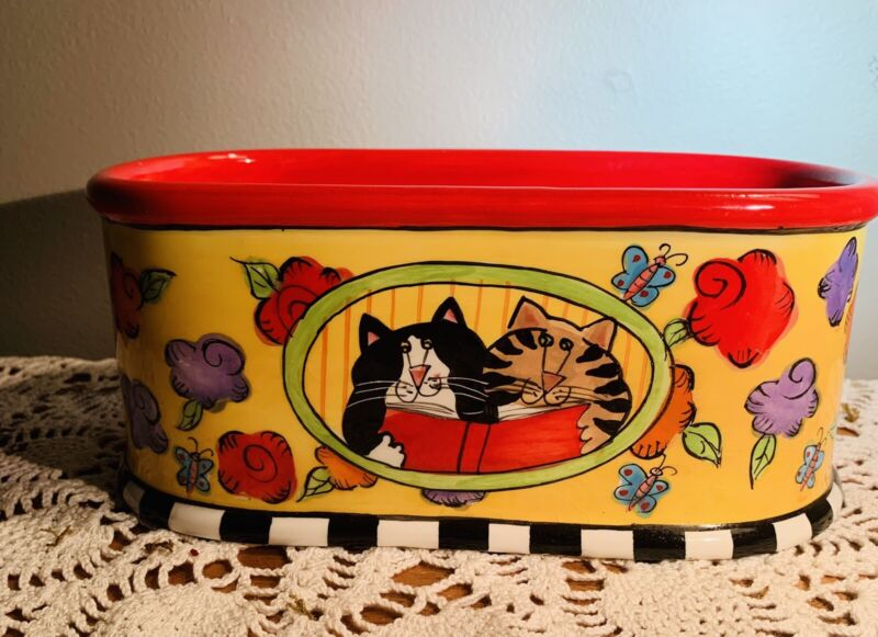 Vintage Catzilla Large Oval Ceramic Bowl Artist Candace Reiter Tuxedo Tabby Cats