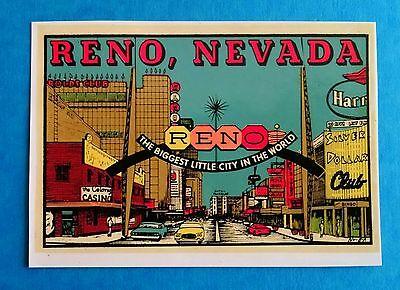 """VINTAGE ORIGINAL 1955 SOUVENIR """"RENO NEVADA"""" CASINO CENTER TRAVEL DECAL ART"""