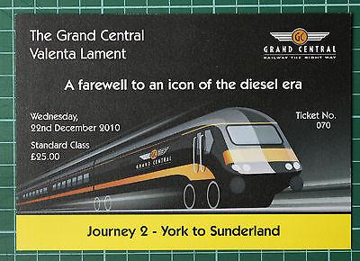 Grand Central HST Valenta Lament ticket 2010 STANDARD, trip 2 York to Sunderland