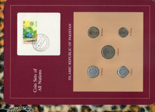 Coin Sets of All Nations Pakistan 1 Rupee 50,25,10,5 Paisa 1991 RARE Pink 8JUL92