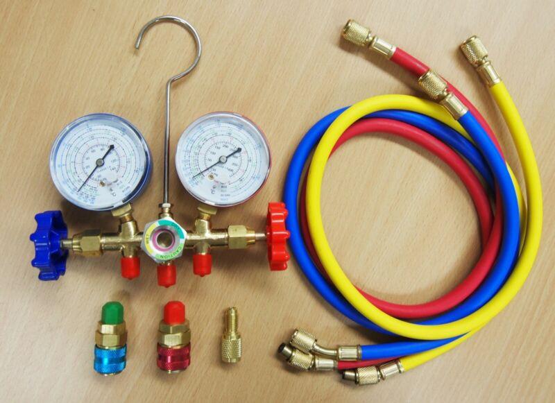 R12 R22 R134a R502 Manifold Gauge Set HVAC A/C Refrigeration Charging Service