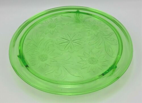 Green Depression Glass Footed Sunflower Cake Plate by Jeanette