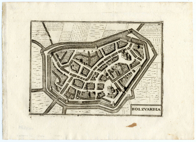 Rare Antique Print-BOLSWARD-PLAN-Coronelli-1706