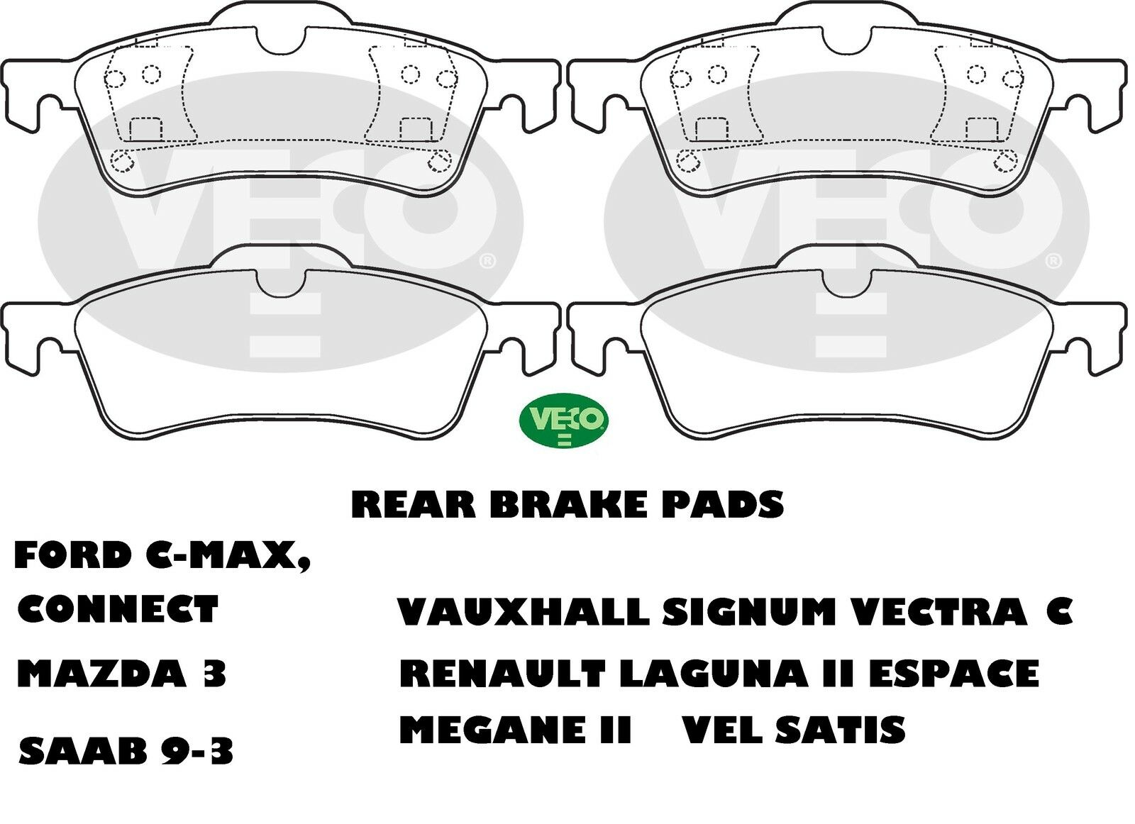 ALLIED NIPPON REAR BRAKE PADS VA1033 Fit Renault Vauxhall