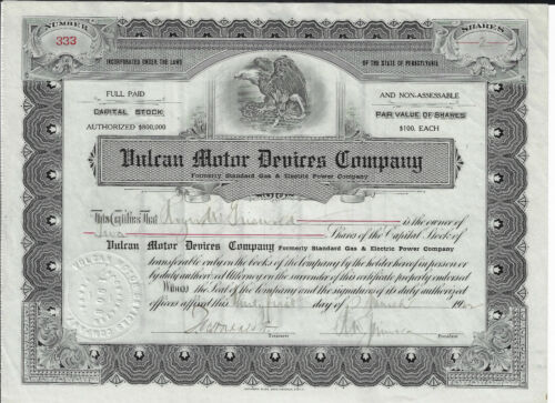 PENNSYLVANIA 1922 Vulcan Motor Devices Co Stock Certificate Electric Gear Shift