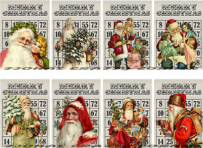 8 CHRISTMAS SANTA BINGO CARD MERRY HANG / GIFT TAGS FOR SCRAPBOOK PAGES (92)