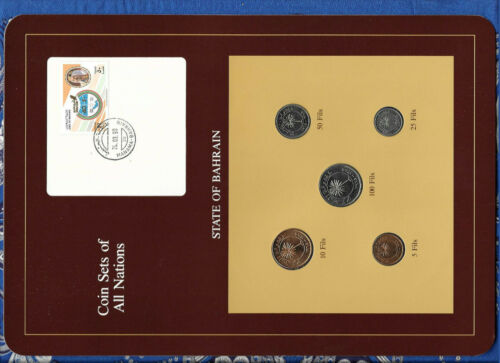 Coin Sets of All Nations Bahrain all 1965 UNC 100, 50, 25, 10, 5 Fils 24.03.90