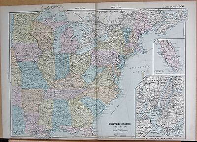 1890 LARGE VICTORIAN MAP - UNITED STATES EAST, ENVIRONS OF NEW YORK
