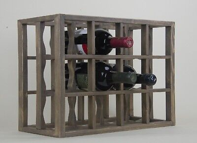 Countertop Rack (Victoria Wine Rack 12 bottles Solid Wood  Smoked color)
